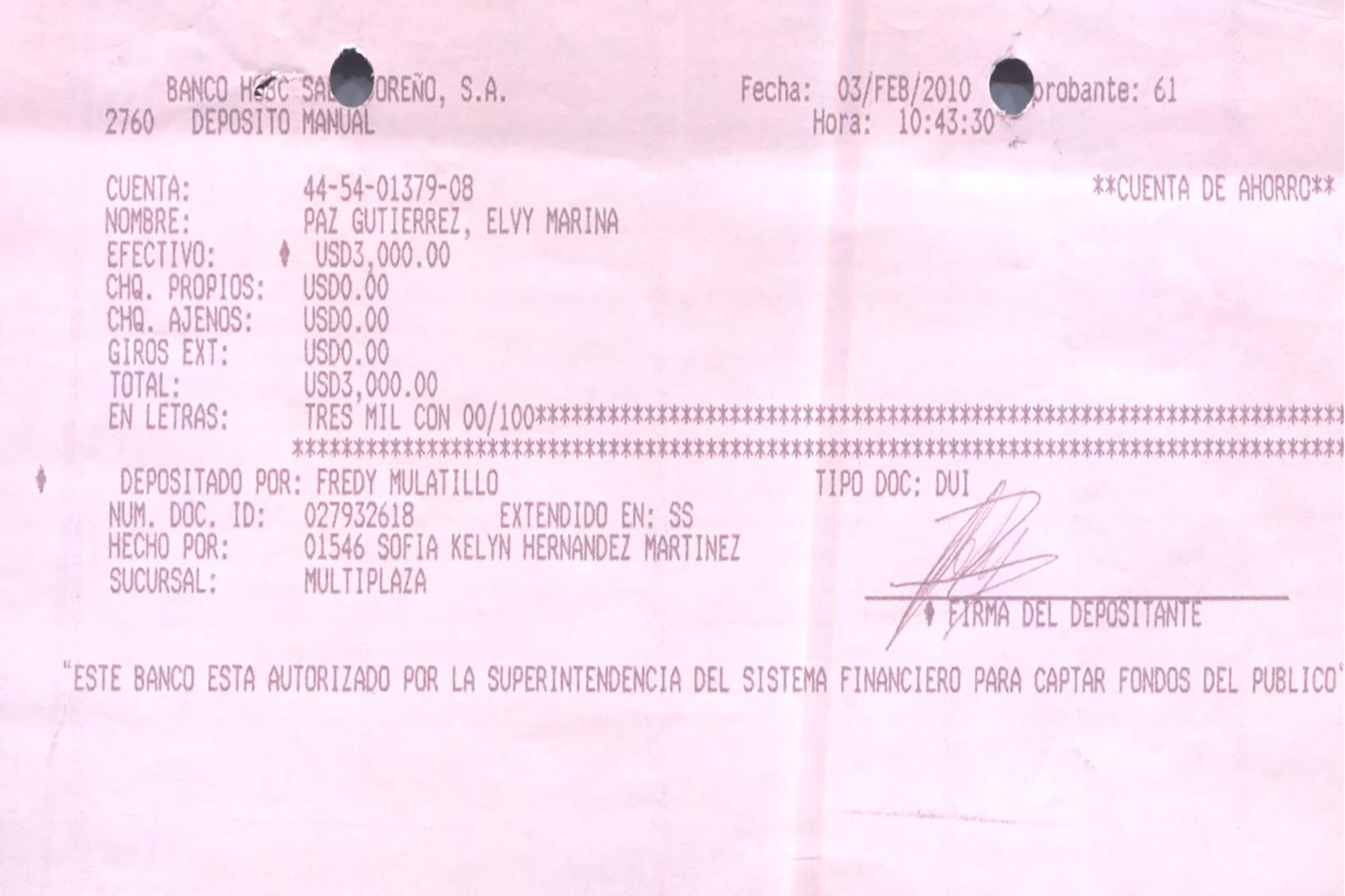 El 3 de febrero de 2010, Fredy Mulatillo, empleado de Casa Presidencial que trabajaba como motorista de la Secretaría Privada, depositó $3,000 en una cuenta del banco HSBC a nombre de Elvy Paz, entonces amante del expresidente Funes, a quien conoció en Canal 12 cuando laboraban ahí. El depósito corresponde al pago de una cuota de manutención de una hija del expresidente con Elvy Paz. Paz y Funes son prófugos de la justicia. Actualmente, Funes tiene como pareja a Ada Michelle Guzmán, también prófuga, y con quien vive asilado en Nicaragua.